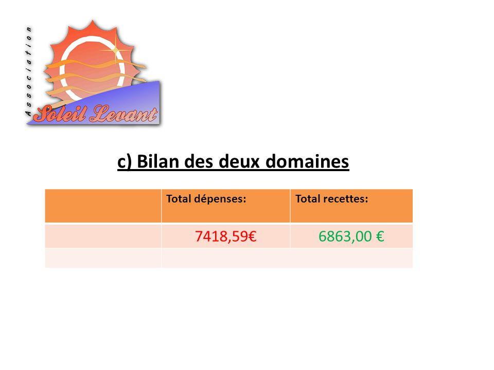 c) Bilan des deux domaines Total dépenses:Total recettes: 7418,596863,00