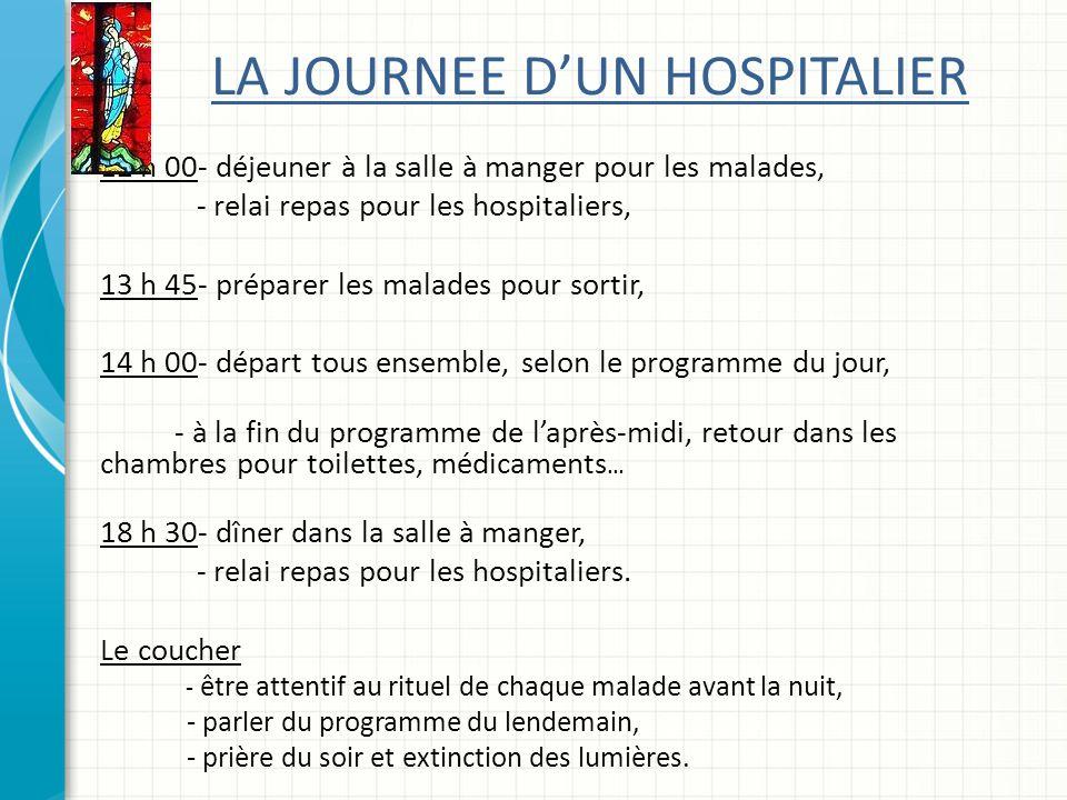 LA JOURNEE DUN HOSPITALIER 12 h 00- déjeuner à la salle à manger pour les malades, - relai repas pour les hospitaliers, 13 h 45- préparer les malades pour sortir, 14 h 00- départ tous ensemble, selon le programme du jour, - à la fin du programme de laprès-midi, retour dans les chambres pour toilettes, médicaments … 18 h 30- dîner dans la salle à manger, - relai repas pour les hospitaliers.