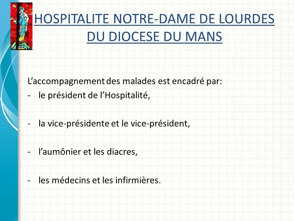 HOSPITALITE NOTRE-DAME DE LOURDES DU DIOCESE DU MANS Laccompagnement des malades est encadré par: -le président de lHospitalité, -la vice-présidente et le vice-président, -laumônier et les diacres, -les médecins et les infirmières.