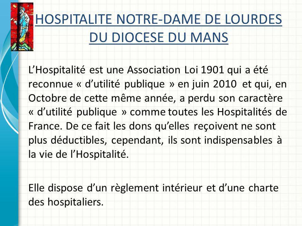 HOSPITALITE NOTRE-DAME DE LOURDES DU DIOCESE DU MANS LHospitalité est une Association Loi 1901 qui a été reconnue « dutilité publique » en juin 2010 et qui, en Octobre de cette même année, a perdu son caractère « dutilité publique » comme toutes les Hospitalités de France.