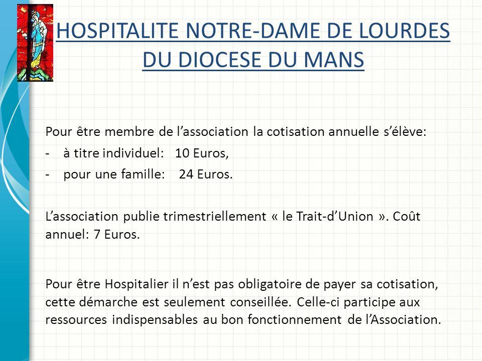 HOSPITALITE NOTRE-DAME DE LOURDES DU DIOCESE DU MANS Pour être membre de lassociation la cotisation annuelle sélève: -à titre individuel: 10 Euros, -pour une famille: 24 Euros.