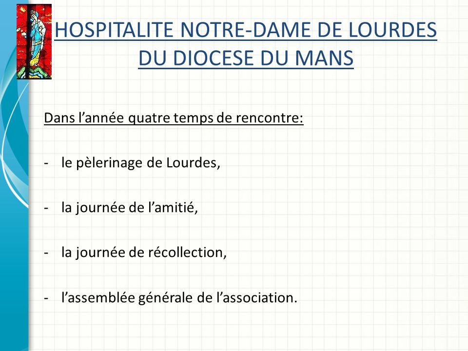 HOSPITALITE NOTRE-DAME DE LOURDES DU DIOCESE DU MANS Dans lannée quatre temps de rencontre: -le pèlerinage de Lourdes, -la journée de lamitié, -la journée de récollection, -lassemblée générale de lassociation.