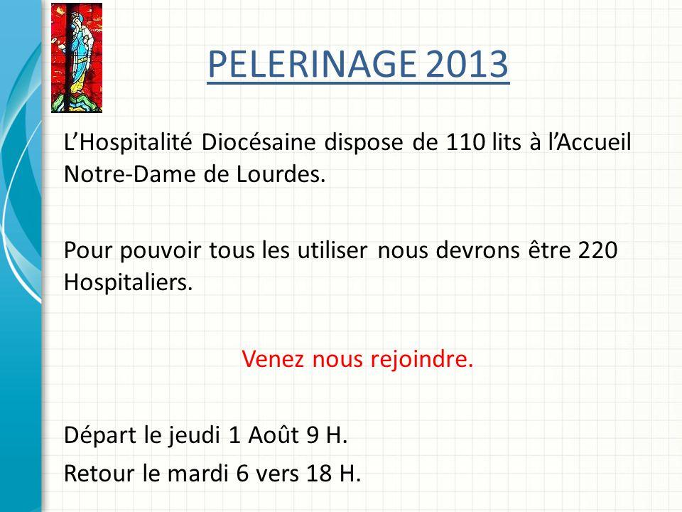 PELERINAGE 2013 LHospitalité Diocésaine dispose de 110 lits à lAccueil Notre-Dame de Lourdes.