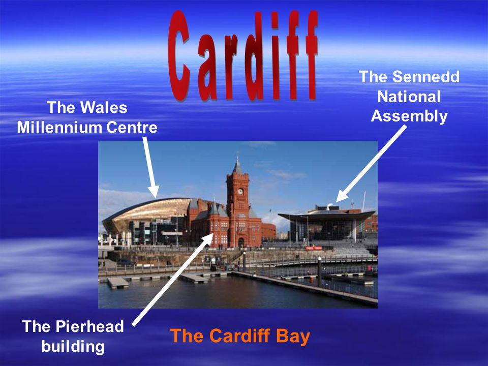 The Cardiff Bay The Wales Millennium Centre The Pierhead building The Sennedd National Assembly