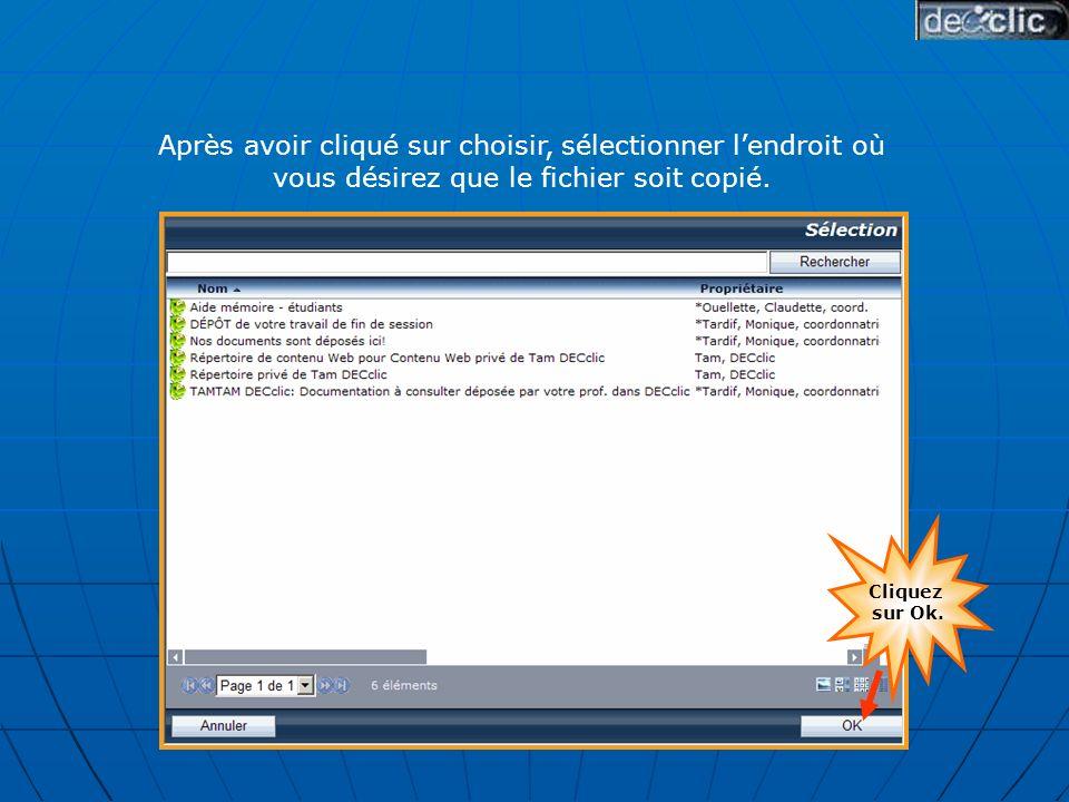 Après avoir cliqué sur choisir, sélectionner lendroit où vous désirez que le fichier soit copié.