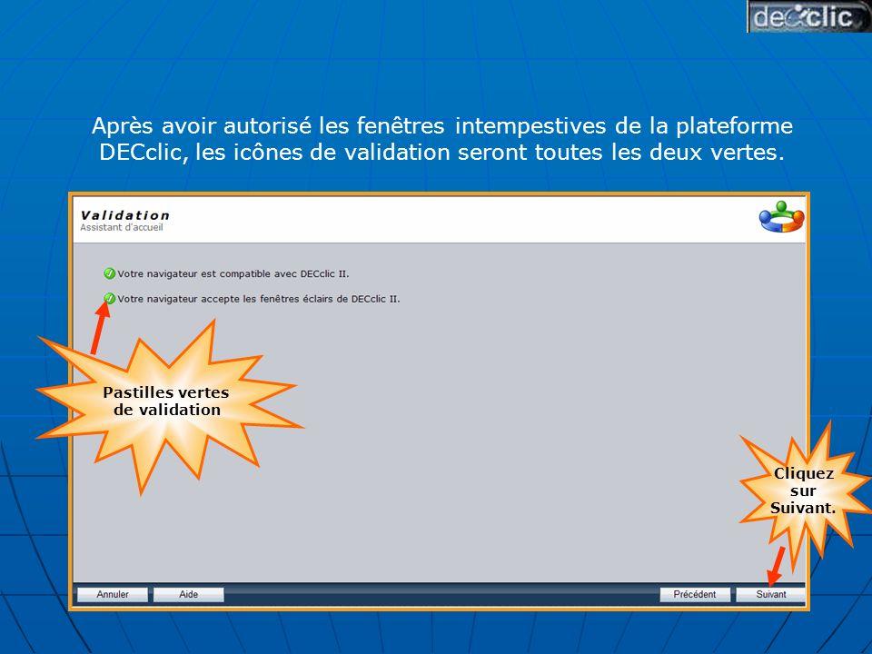La fenêtre publicitaire intempestive empêche la session de souvrir puisque le navigateur naccepte pas les fenêtres éclairs de DECclic.