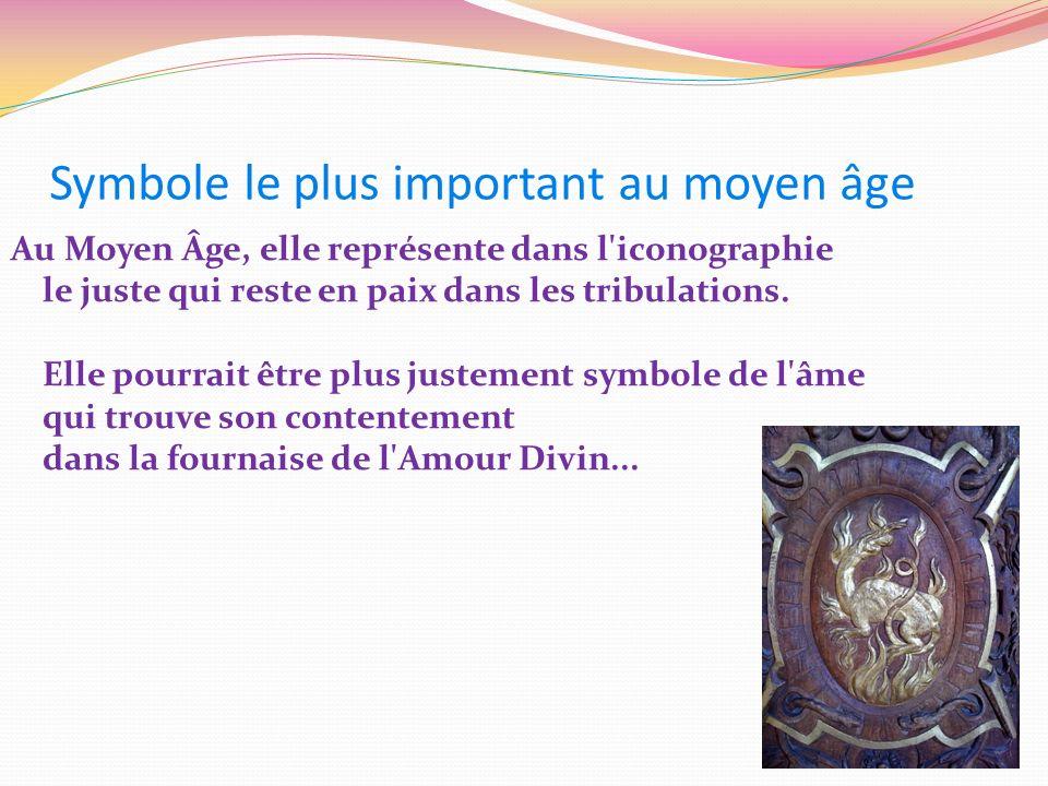 Symbole le plus important au moyen âge Au Moyen Âge, elle représente dans l'iconographie le juste qui reste en paix dans les tribulations. Elle pourra