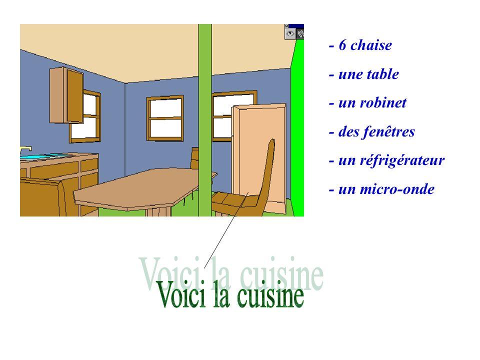 - 6 chaise - une table - un robinet - des fenêtres - un réfrigérateur - un micro-onde