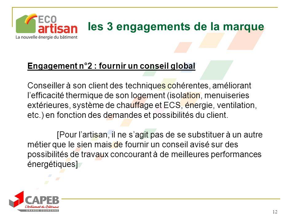 12 Engagement n°2 : fournir un conseil global Conseiller à son client des techniques cohérentes, améliorant lefficacité thermique de son logement (iso