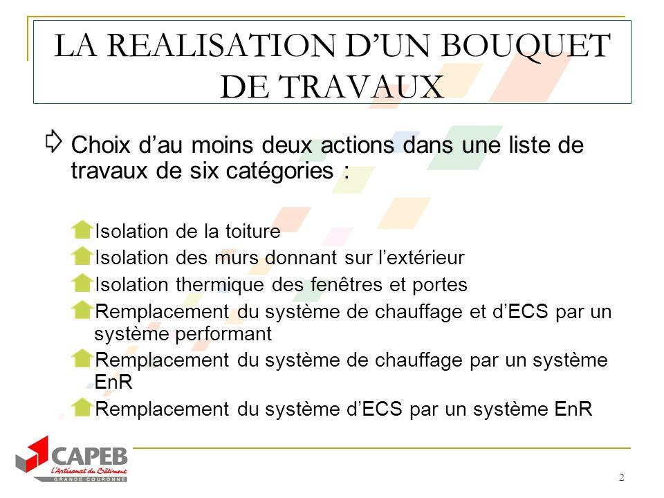 2 LA REALISATION DUN BOUQUET DE TRAVAUX Choix dau moins deux actions dans une liste de travaux de six catégories : Isolation de la toiture Isolation d