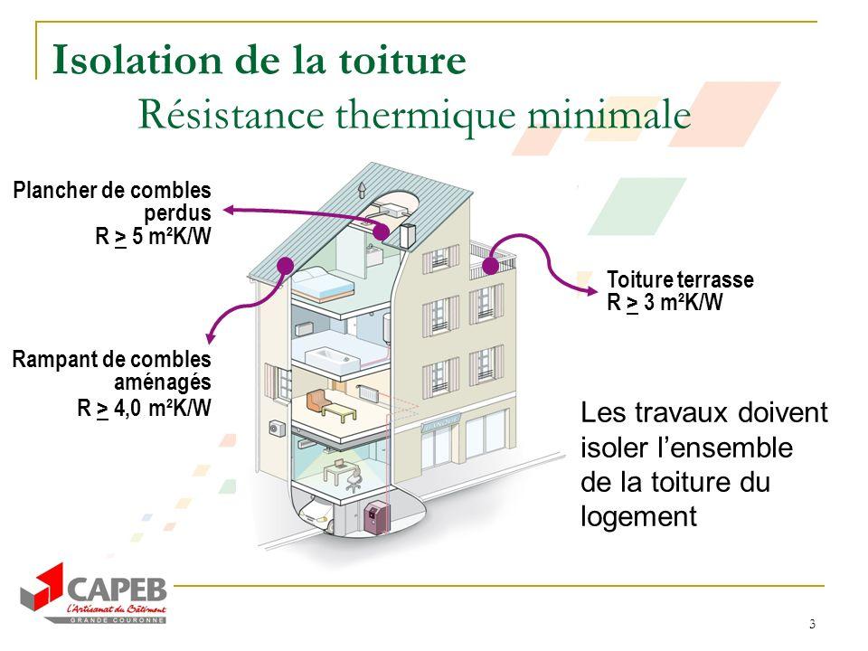 3 Isolation de la toiture Résistance thermique minimale Plancher de combles perdus R > 5 m²K/W Rampant de combles aménagés R > 4,0 m²K/W Toiture terra