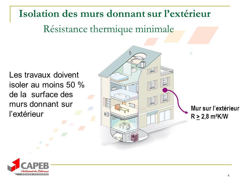 4 Isolation des murs donnant sur lextérieur Résistance thermique minimale Les travaux doivent isoler au moins 50 % de la surface des murs donnant sur