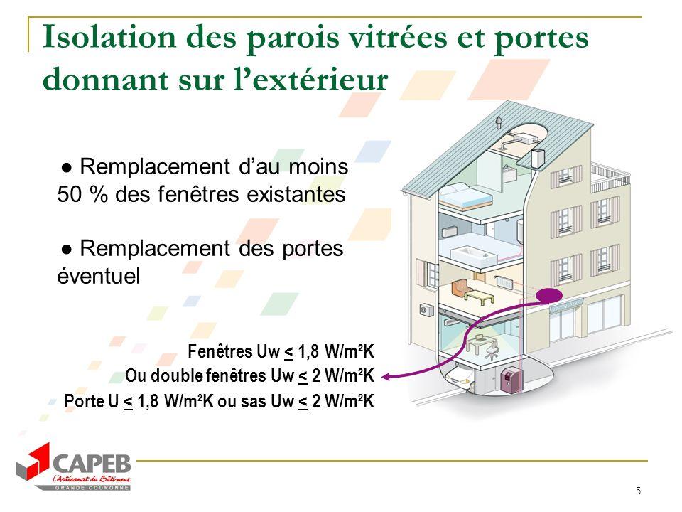 5 Isolation des parois vitrées et portes donnant sur lextérieur Remplacement dau moins 50 % des fenêtres existantes Remplacement des portes éventuel F