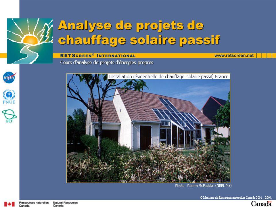 Cours danalyse de projets dénergies propres Photo : Pamm McFadden (NREL Pix) Analyse de projets de chauffage solaire passif Installation résidentielle