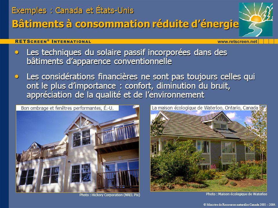 © Ministre de Ressources naturelles Canada 2001 – 2004. Exemples : Canada et États-Unis Bâtiments à consommation réduite dénergie Les techniques du so