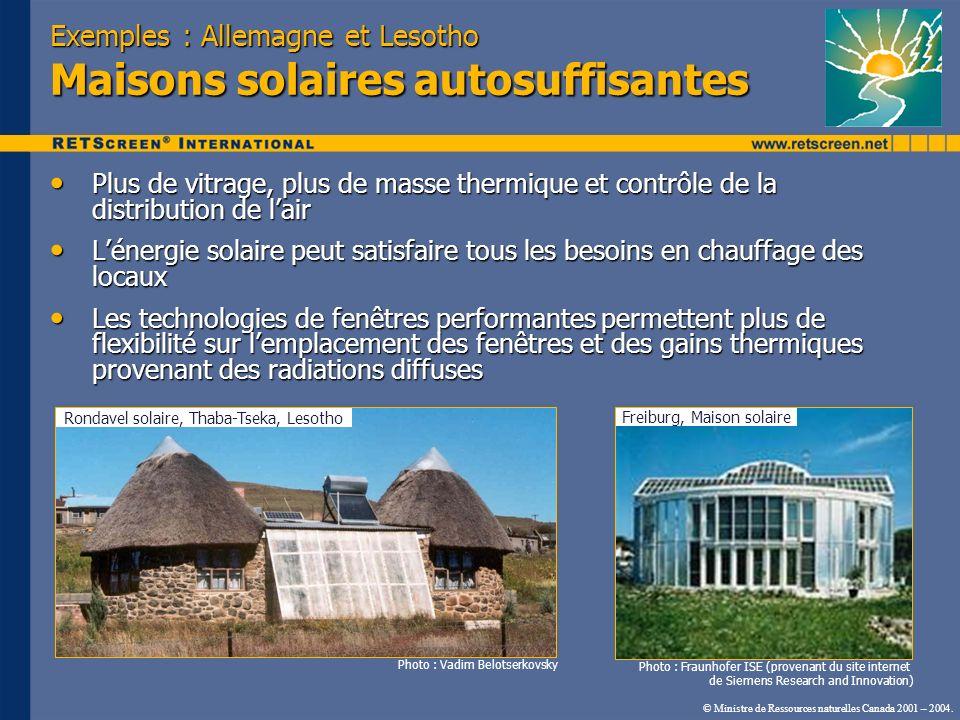 © Ministre de Ressources naturelles Canada 2001 – 2004. Exemples : Allemagne et Lesotho Maisons solaires autosuffisantes Plus de vitrage, plus de mass