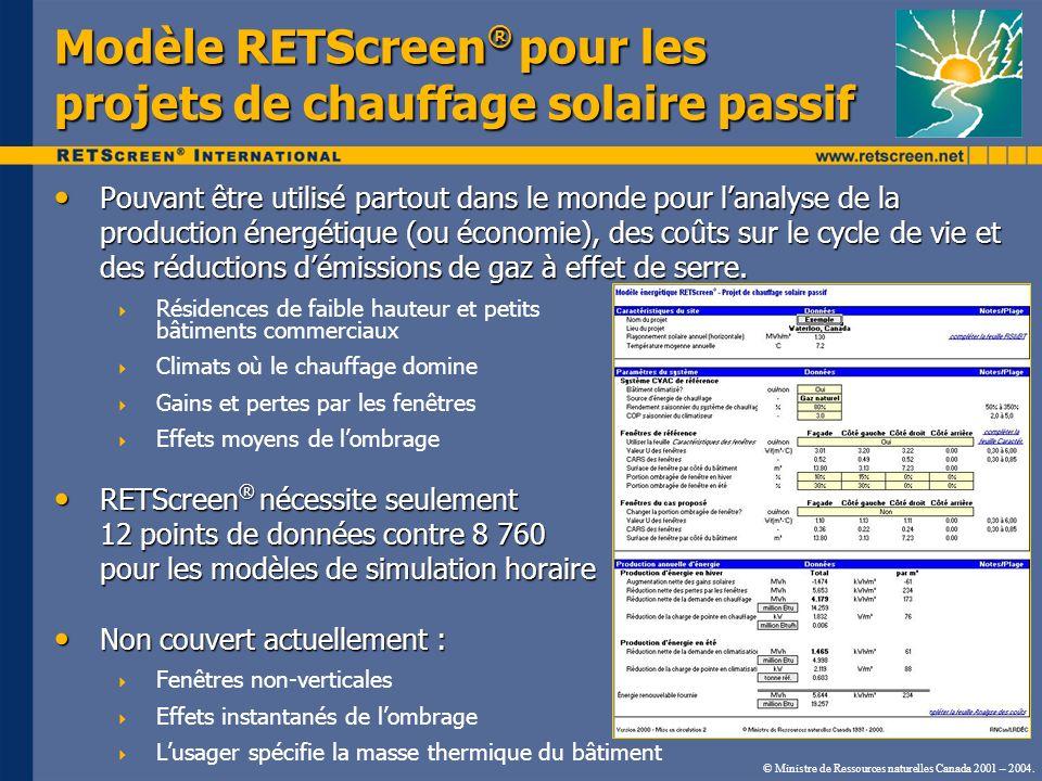 © Ministre de Ressources naturelles Canada 2001 – 2004. Modèle RETScreen ® pour les projets de chauffage solaire passif Pouvant être utilisé partout d