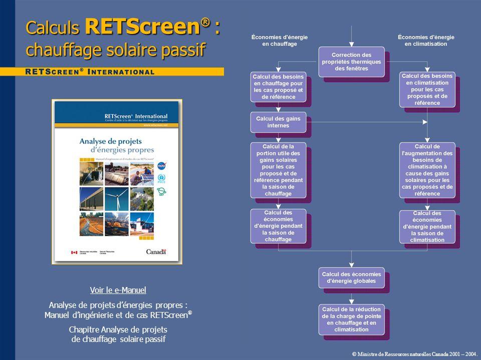 © Ministre de Ressources naturelles Canada 2001 – 2004. Voir le e-Manuel Analyse de projets dénergies propres : Manuel dingénierie et de cas RETScreen