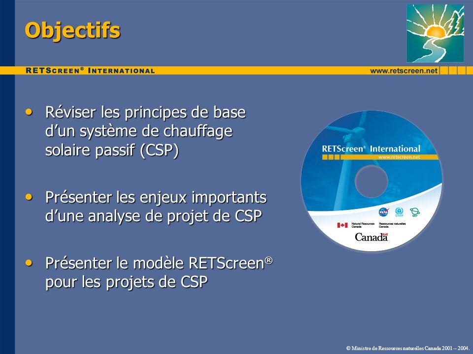 Objectifs Réviser les principes de base dun système de chauffage solaire passif (CSP) Réviser les principes de base dun système de chauffage solaire p