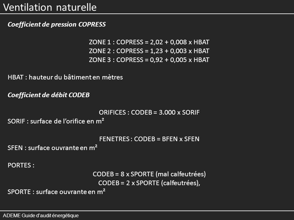 Ventilation naturelle ADEME Guide daudit énergétique Coefficient de pression COPRESS ZONE 1 : COPRESS = 2,02 + 0,008 x HBAT ZONE 2 : COPRESS = 1,23 + 0,003 x HBAT ZONE 3 : COPRESS = 0,92 + 0,005 x HBAT HBAT : hauteur du bâtiment en mètres Coefficient de débit CODEB ORIFICES : CODEB = 3.000 x SORIF SORIF : surface de lorifice en m² FENETRES : CODEB = BFEN x SFEN SFEN : surface ouvrante en m² PORTES : CODEB = 8 x SPORTE (mal calfeutrées) CODEB = 2 x SPORTE (calfeutrées), SPORTE : surface ouvrante en m²