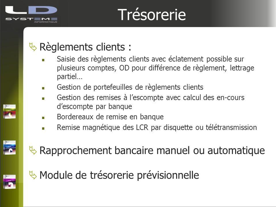 Trésorerie Règlements clients : Saisie des règlements clients avec éclatement possible sur plusieurs comptes, OD pour différence de règlement, lettrag