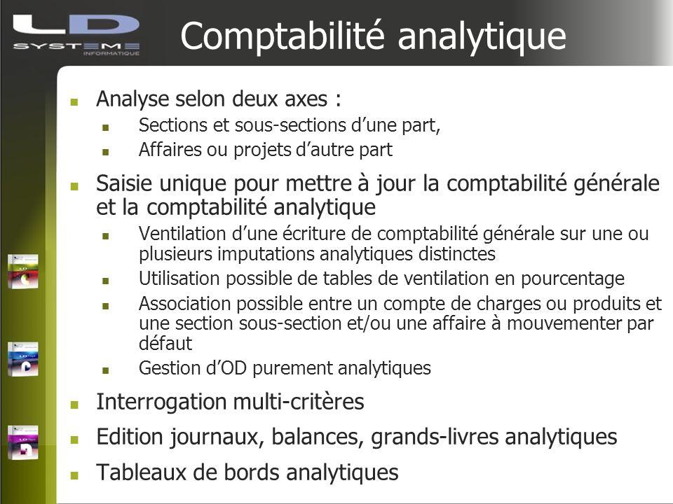 Comptabilité analytique Analyse selon deux axes : Sections et sous-sections dune part, Affaires ou projets dautre part Saisie unique pour mettre à jou