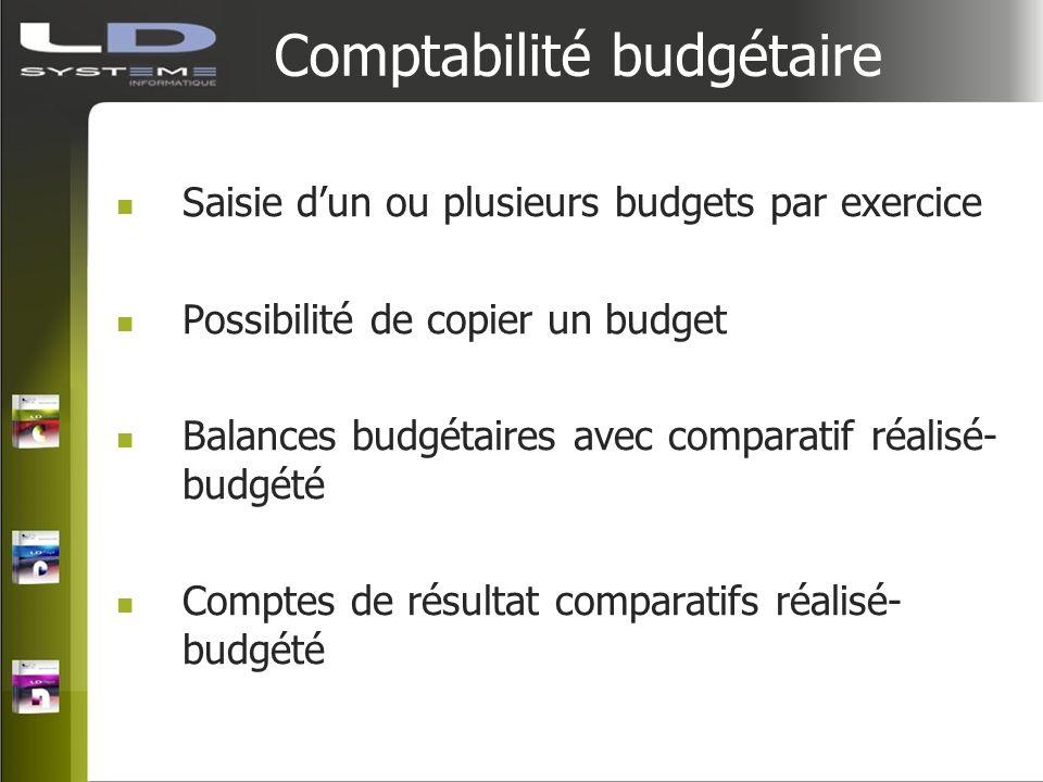 Comptabilité budgétaire Saisie dun ou plusieurs budgets par exercice Possibilité de copier un budget Balances budgétaires avec comparatif réalisé- bud
