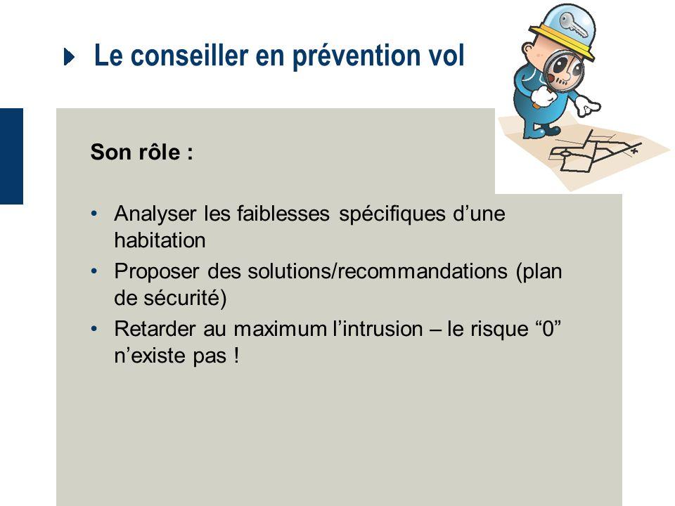 Le conseiller en prévention vol Son rôle : Analyser les faiblesses spécifiques dune habitation Proposer des solutions/recommandations (plan de sécurité) Retarder au maximum lintrusion – le risque 0 nexiste pas !