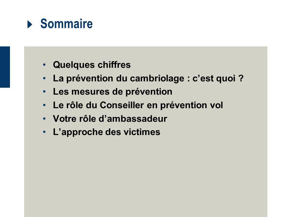 Sommaire Quelques chiffres La prévention du cambriolage : cest quoi .