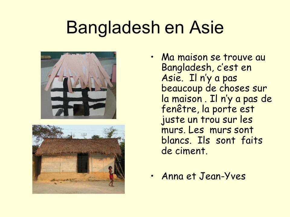 Kenya en Afique Ma maison est au Kenya qui est en Afrique. Les murs sont faits en bambou. Les murs sont en forme de cercle. Des fenêtres on en voit pa