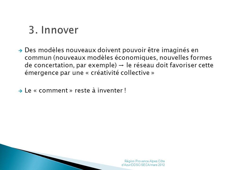 Des modèles nouveaux doivent pouvoir être imaginés en commun (nouveaux modèles économiques, nouvelles formes de concertation, par exemple) le réseau doit favoriser cette émergence par une « créativité collective » Le « comment » reste à inventer .