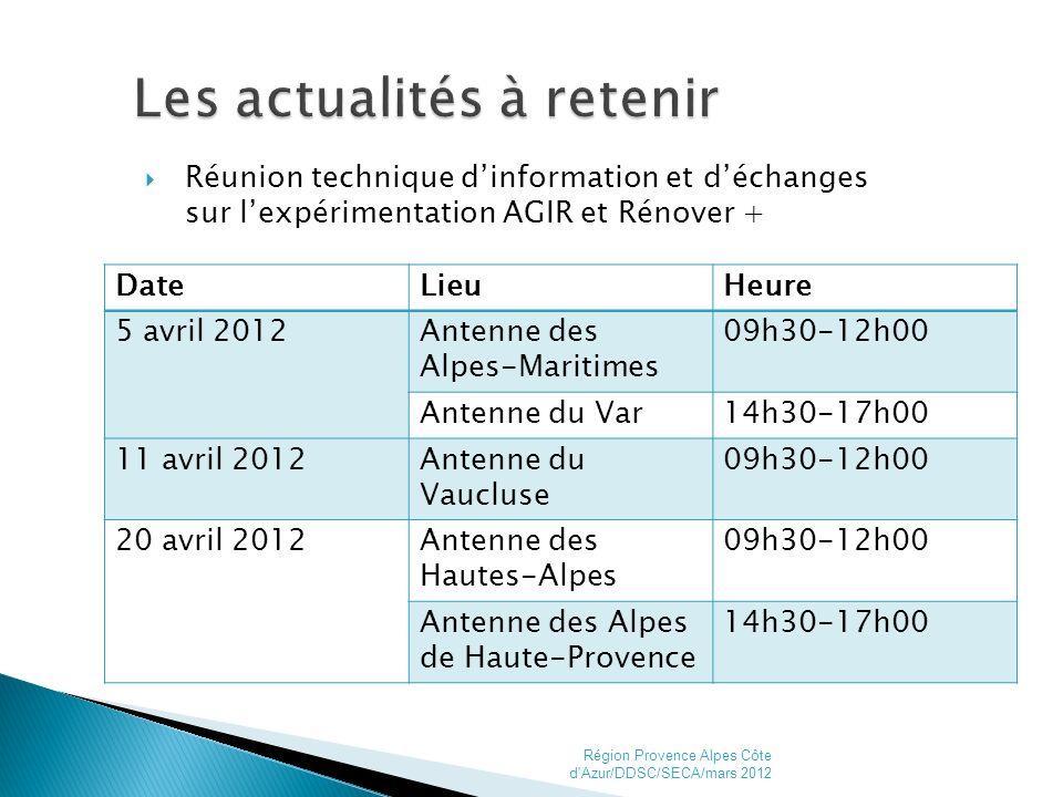 Réunion technique dinformation et déchanges sur lexpérimentation AGIR et Rénover + Région Provence Alpes Côte d Azur/DDSC/SECA/mars 20129 DateLieuHeure 5 avril 2012Antenne des Alpes-Maritimes 09h30-12h00 Antenne du Var14h30-17h00 11 avril 2012Antenne du Vaucluse 09h30-12h00 20 avril 2012Antenne des Hautes-Alpes 09h30-12h00 Antenne des Alpes de Haute-Provence 14h30-17h00