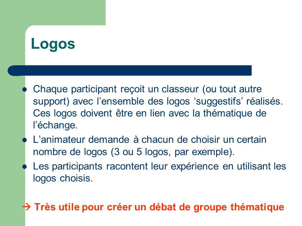 Logos Chaque participant reçoit un classeur (ou tout autre support) avec lensemble des logos suggestifs réalisés.