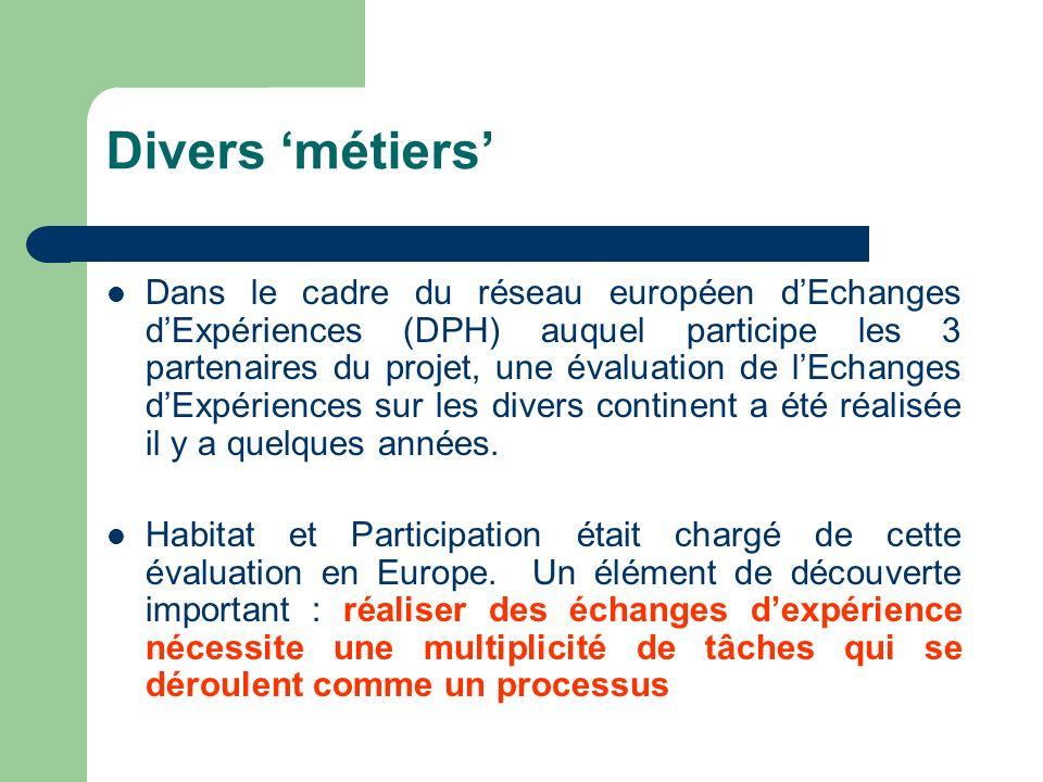 Divers métiers Dans le cadre du réseau européen dEchanges dExpériences (DPH) auquel participe les 3 partenaires du projet, une évaluation de lEchanges dExpériences sur les divers continent a été réalisée il y a quelques années.