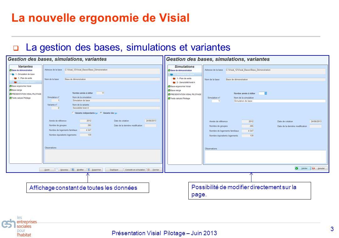 Séminaire Approfondissement Visial 2010– réf kl Présentation Visial Pilotage – Juin 2013 La nouvelle ergonomie de Visial 3 La gestion des bases, simul