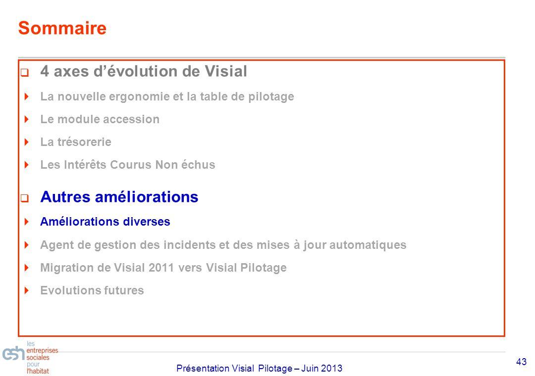 Séminaire Approfondissement Visial 2010– réf kl Présentation Visial Pilotage – Juin 2013 Sommaire 4 axes dévolution de Visial La nouvelle ergonomie et