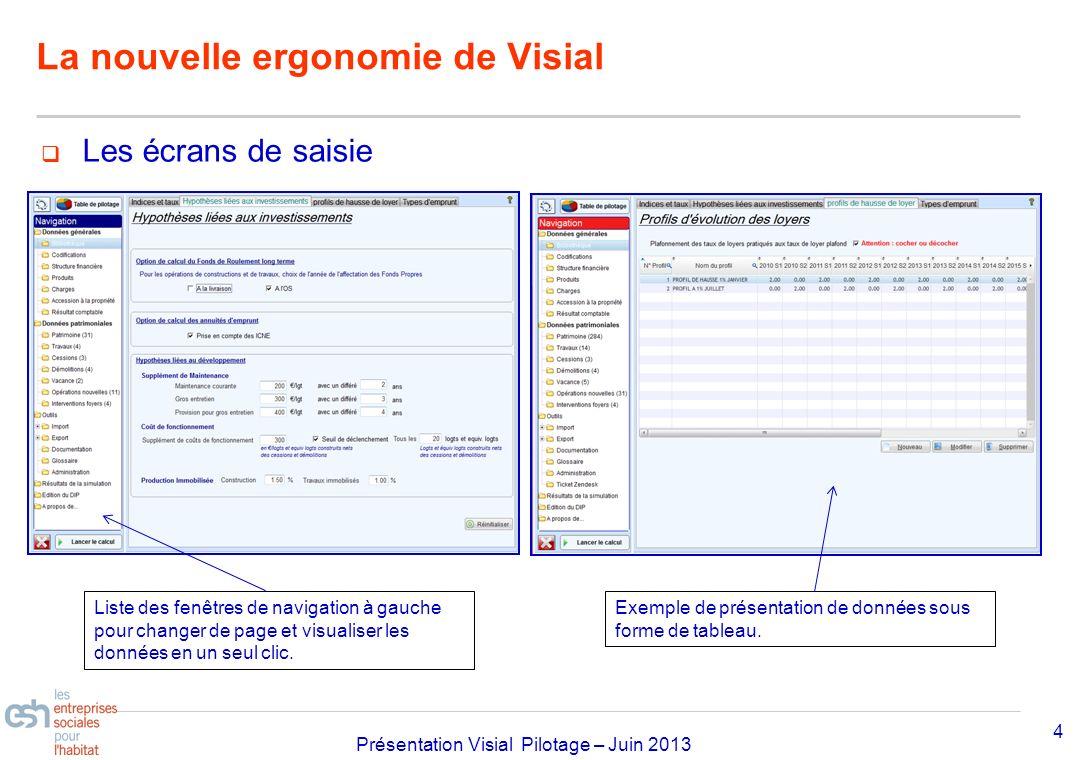 Séminaire Approfondissement Visial 2010– réf kl Présentation Visial Pilotage – Juin 2013 La nouvelle ergonomie de Visial 4 Les écrans de saisie Liste