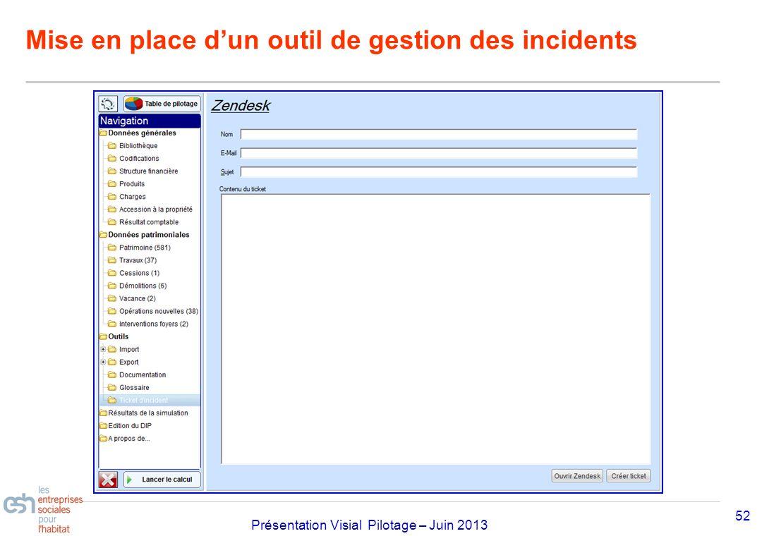 Séminaire Approfondissement Visial 2010– réf kl Présentation Visial Pilotage – Juin 2013 Mise en place dun outil de gestion des incidents 52