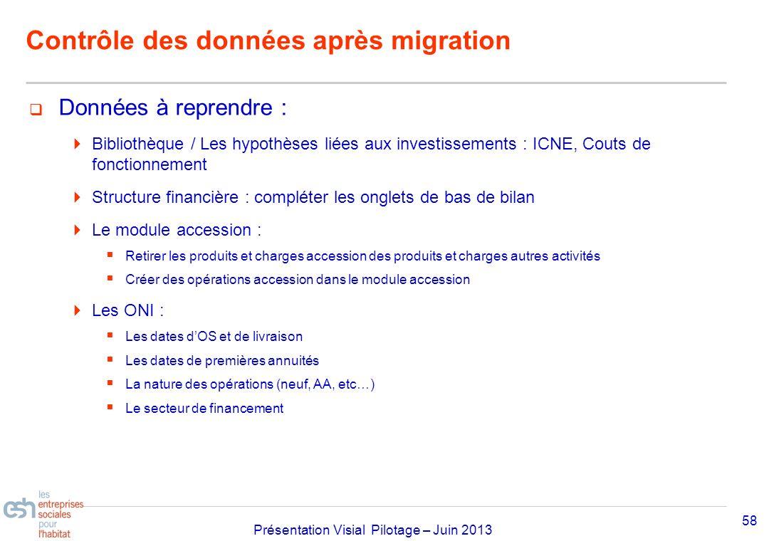 Séminaire Approfondissement Visial 2010– réf kl Présentation Visial Pilotage – Juin 2013 Contrôle des données après migration Données à reprendre : Bi