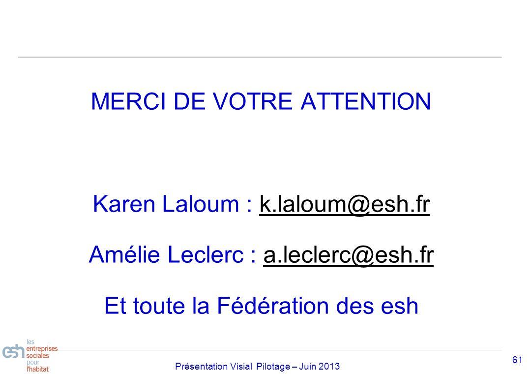 Séminaire Approfondissement Visial 2010– réf kl Présentation Visial Pilotage – Juin 2013 MERCI DE VOTRE ATTENTION Karen Laloum : k.laloum@esh.frk.lalo