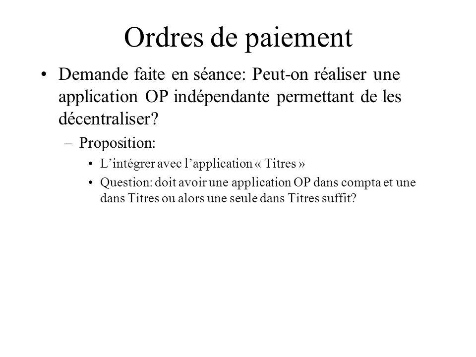 Ordres de paiement Demande faite en séance: Peut-on réaliser une application OP indépendante permettant de les décentraliser? –Proposition: Lintégrer