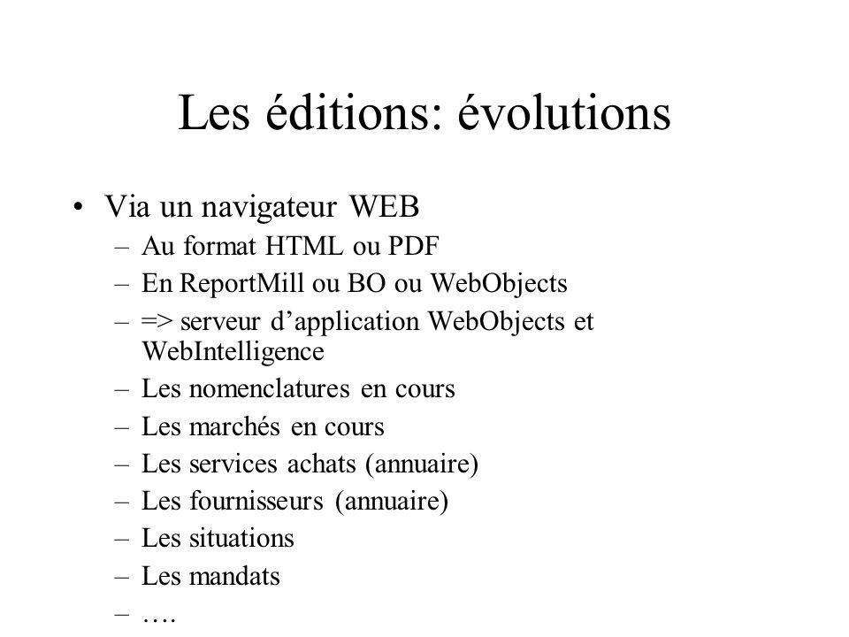 Les éditions: évolutions Via un navigateur WEB –Au format HTML ou PDF –En ReportMill ou BO ou WebObjects –=> serveur dapplication WebObjects et WebInt