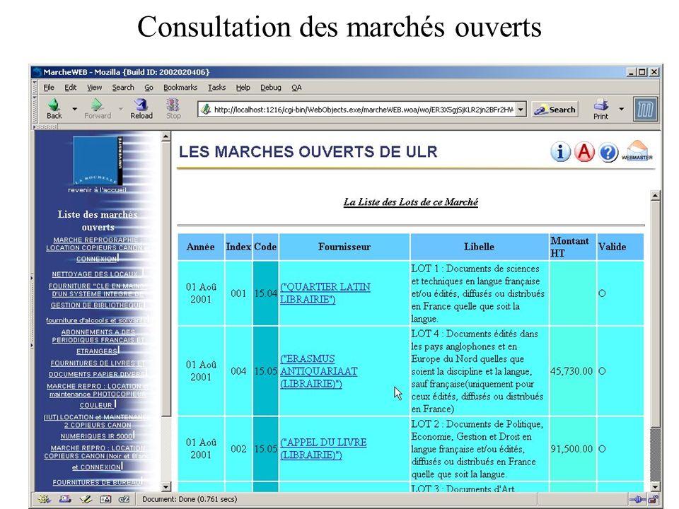 Consultation des marchés ouverts