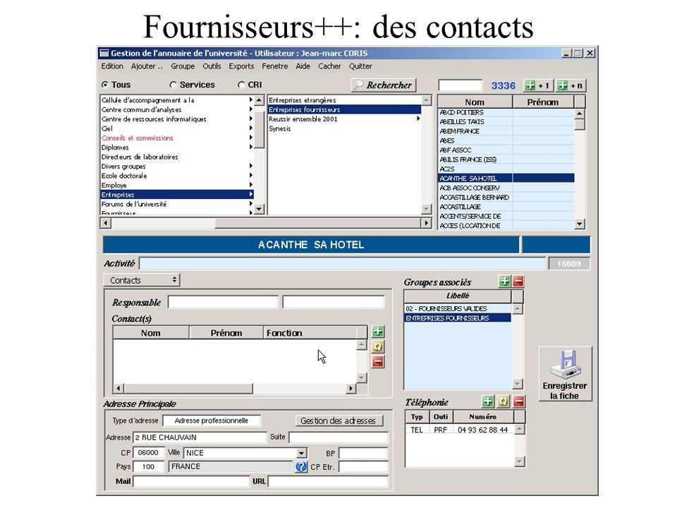 Fournisseurs++: des contacts