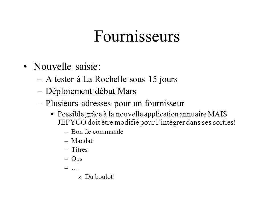 Fournisseurs Nouvelle saisie: –A tester à La Rochelle sous 15 jours –Déploiement début Mars –Plusieurs adresses pour un fournisseur Possible grâce à l