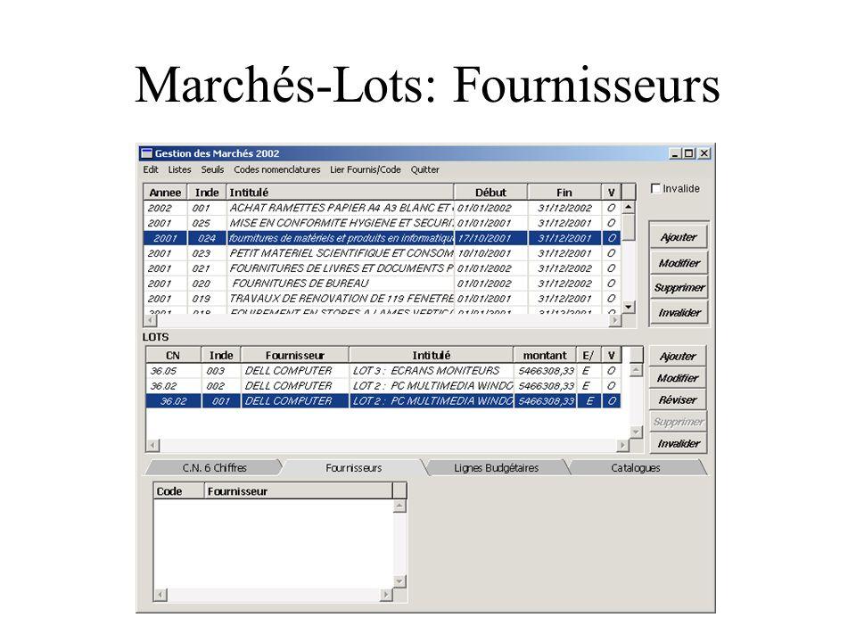 Marchés-Lots: Fournisseurs