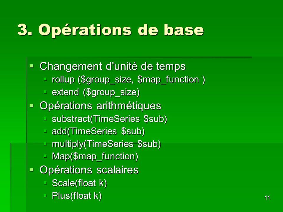11 3. Opérations de base Changement d'unité de temps Changement d'unité de temps rollup ($group_size, $map_function ) rollup ($group_size, $map_functi