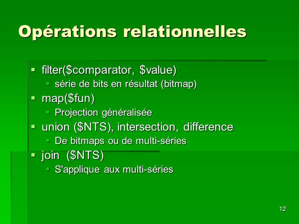 12 Opérations relationnelles filter($comparator, $value) filter($comparator, $value) série de bits en résultat (bitmap) série de bits en résultat (bit