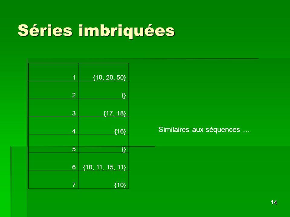 14 Séries imbriquées 1{10, 20, 50} 2{} 3{17, 18} 4{16} 5{} 6{10, 11, 15, 11} 7{10} Similaires aux séquences …