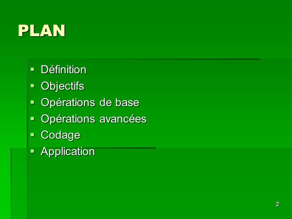 2 PLAN Définition Définition Objectifs Objectifs Opérations de base Opérations de base Opérations avancées Opérations avancées Codage Codage Applicati